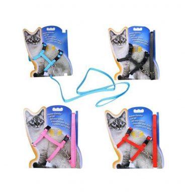 Cat Harness and Leash Adjustable Nylon Halter Harness Kitten Nylon Strap Belt Safety Rope Leads 2
