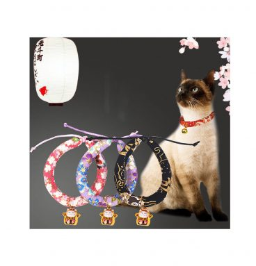 Flower Cloud Pattern Necklace Collar For Pet Kitten Cat With Bell Japanese Style