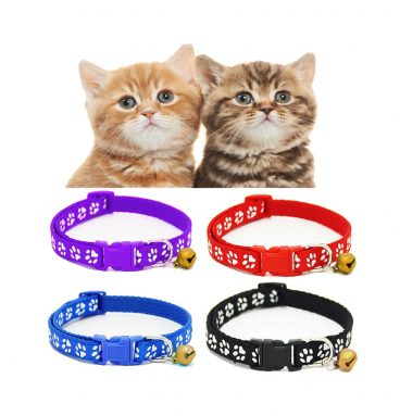Nylon Cat Collar with bell is fully adjustable soft weave comfortable cat collar
